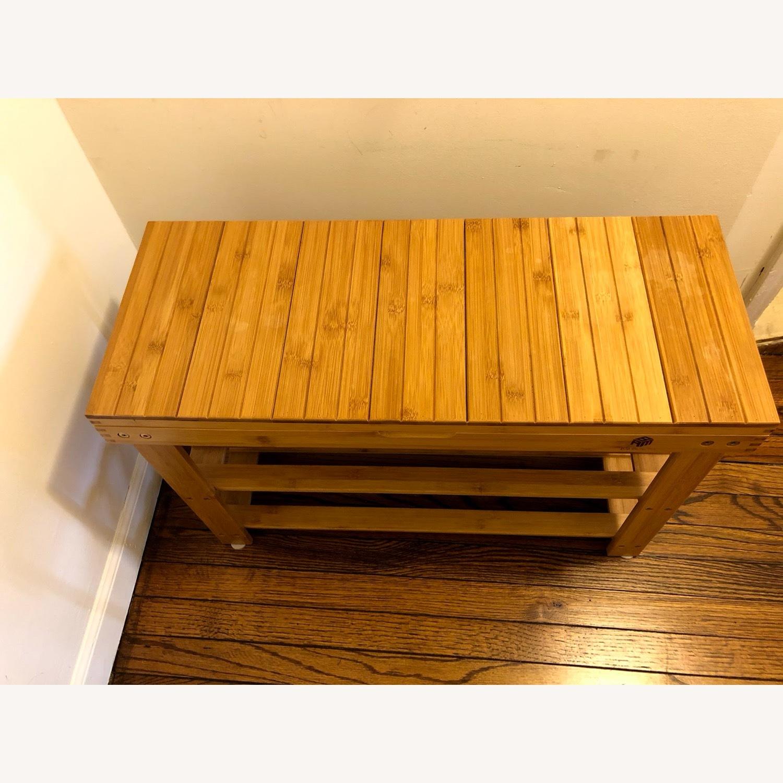 Bamboo Shoe Rack Storage Bench - image-3