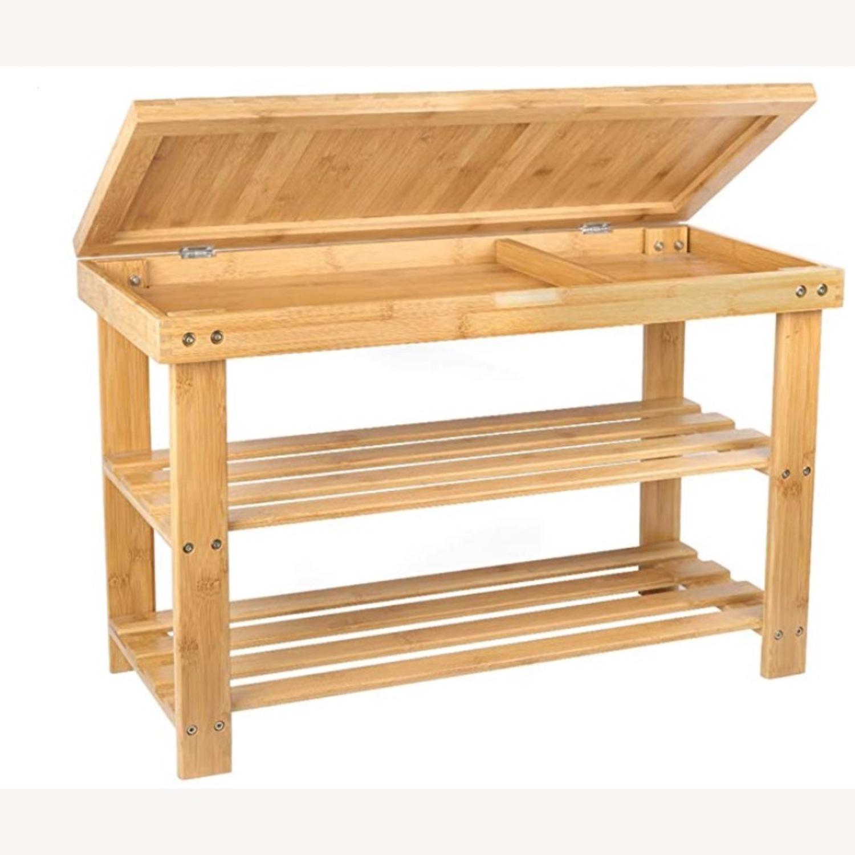 Bamboo Shoe Rack Storage Bench - image-1