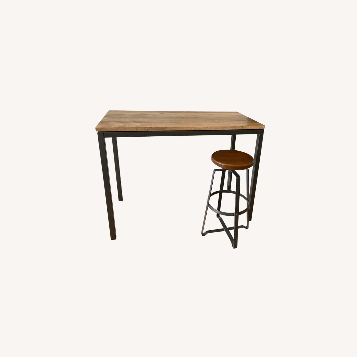 West Elm Box Frame Counter Table & Stool - image-0