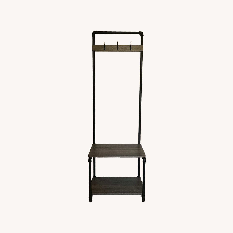 Industrial Bench w/ 3-Hooks + 1 Shoe/Storage Shelf - image-0