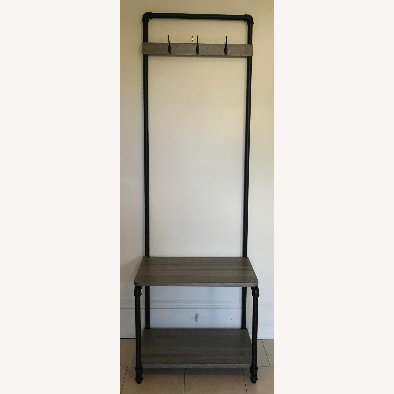 Industrial Bench w/ 3-Hooks + 1 Shoe/Storage Shelf - image-1