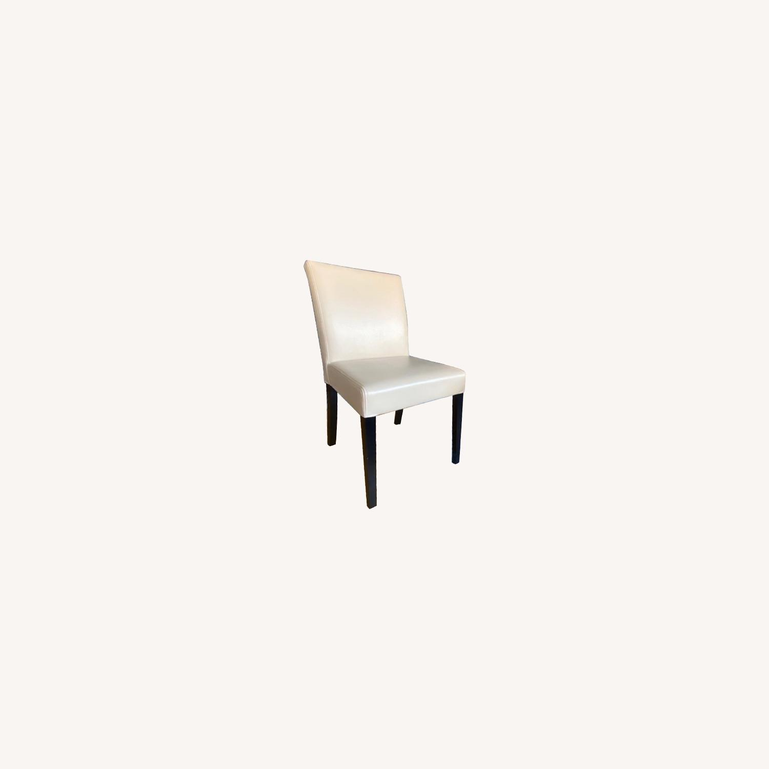 Crate & Barrel Lowe Ivory Leather Dining Chairs - image-13