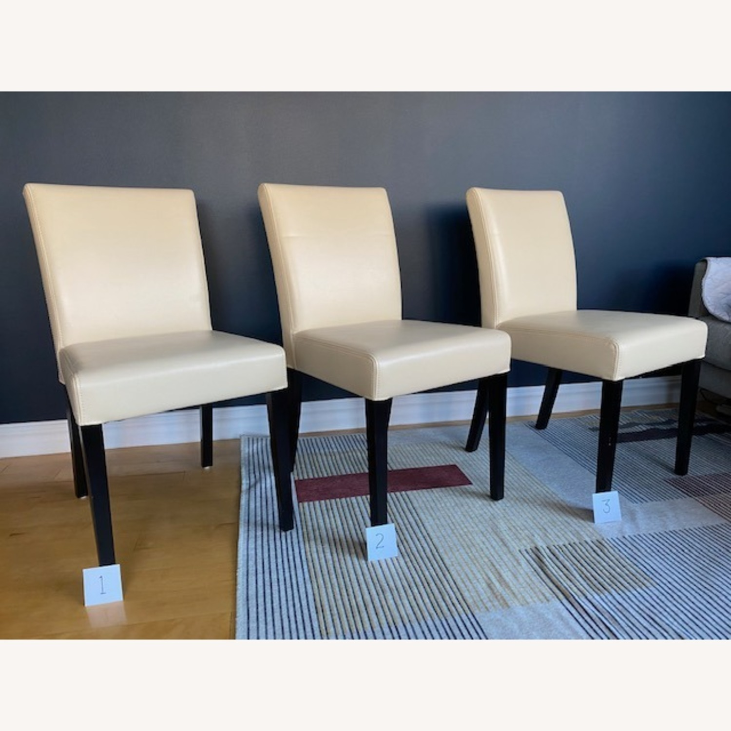 Crate & Barrel Lowe Ivory Leather Dining Chairs - image-8