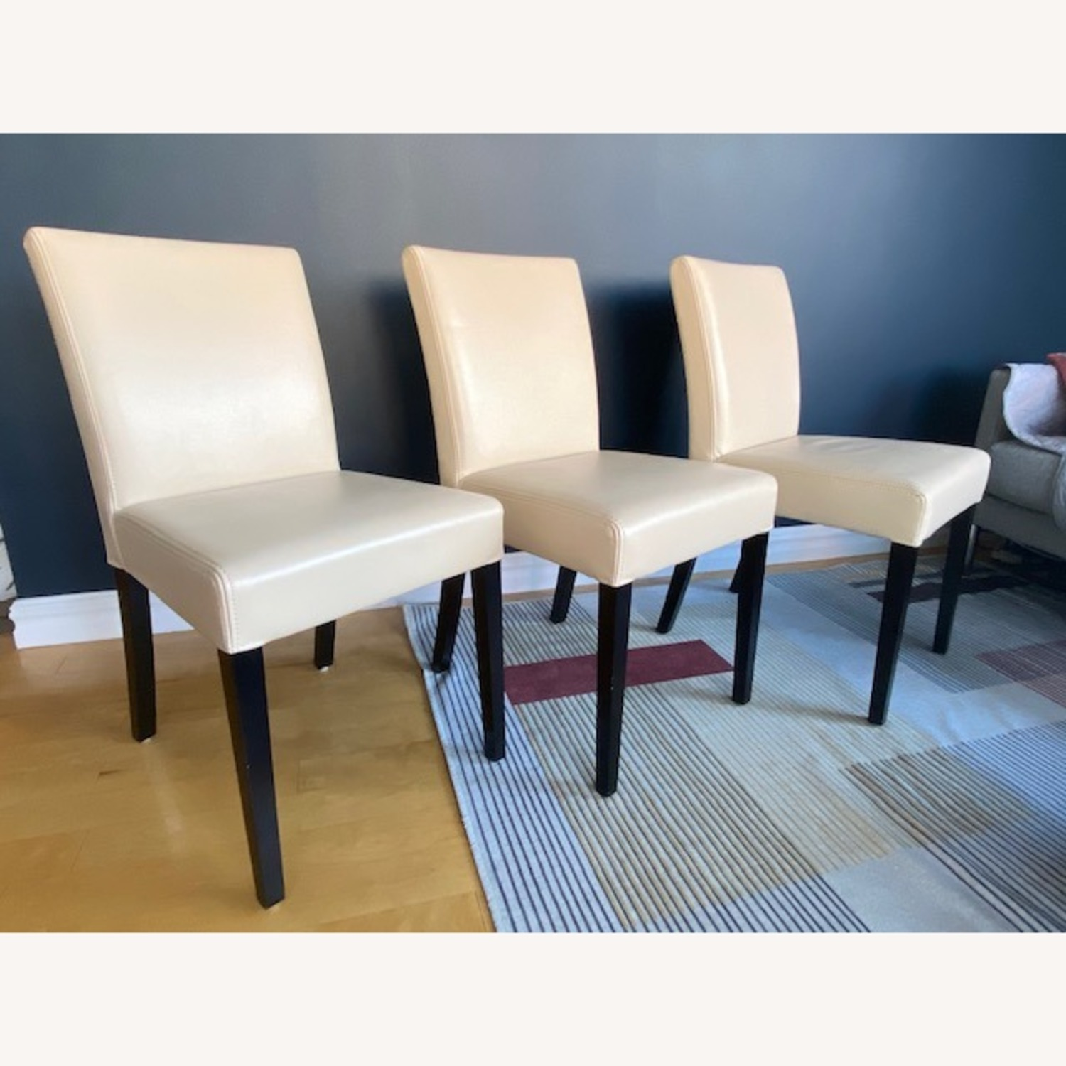 Crate & Barrel Lowe Ivory Leather Dining Chairs - image-0
