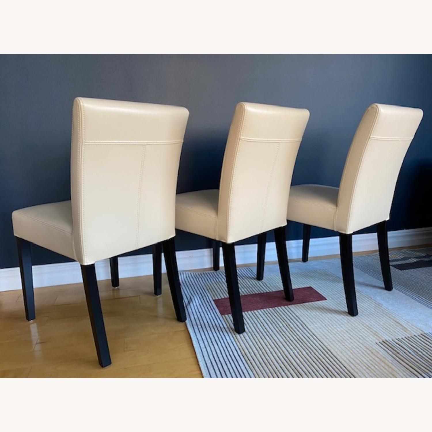 Crate & Barrel Lowe Ivory Leather Dining Chairs - image-1