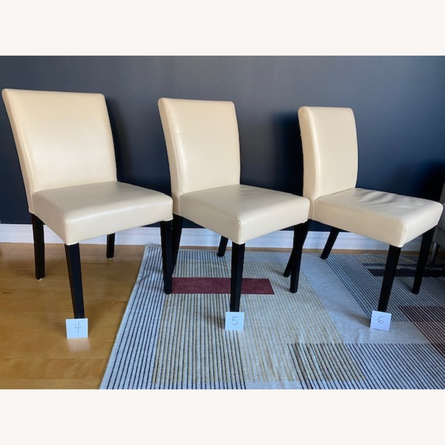 Crate & Barrel Lowe Ivory Leather Dining Chairs - image-9