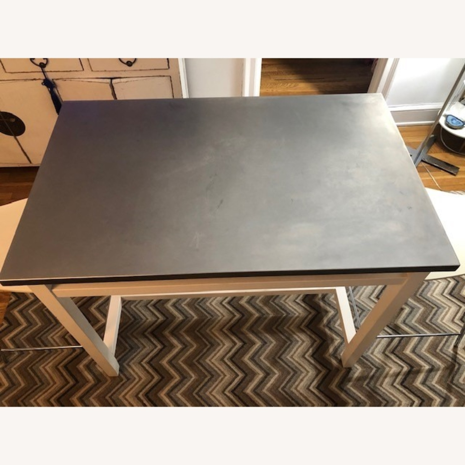 Crate & Barrel Stainless Steel High Top Table - image-2