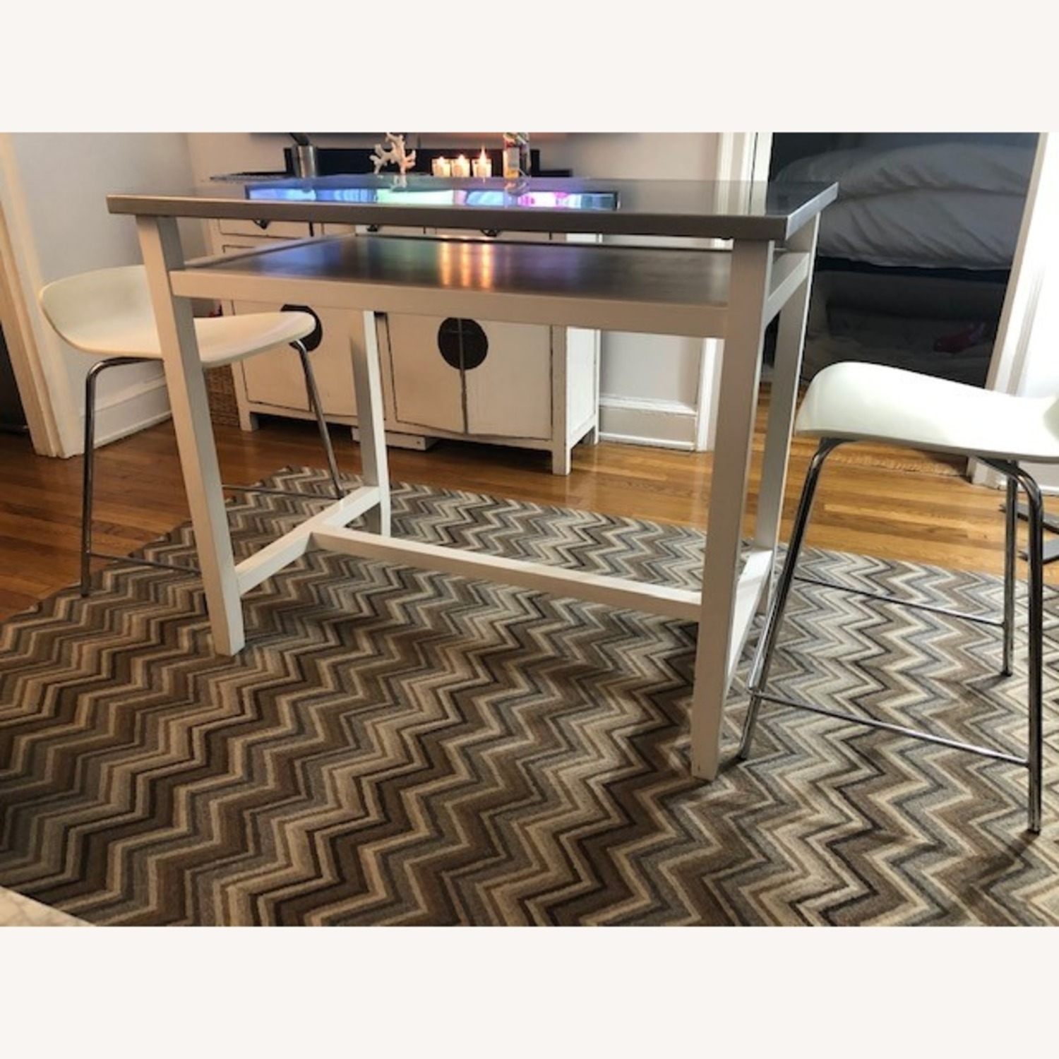 Crate & Barrel Stainless Steel High Top Table - image-1