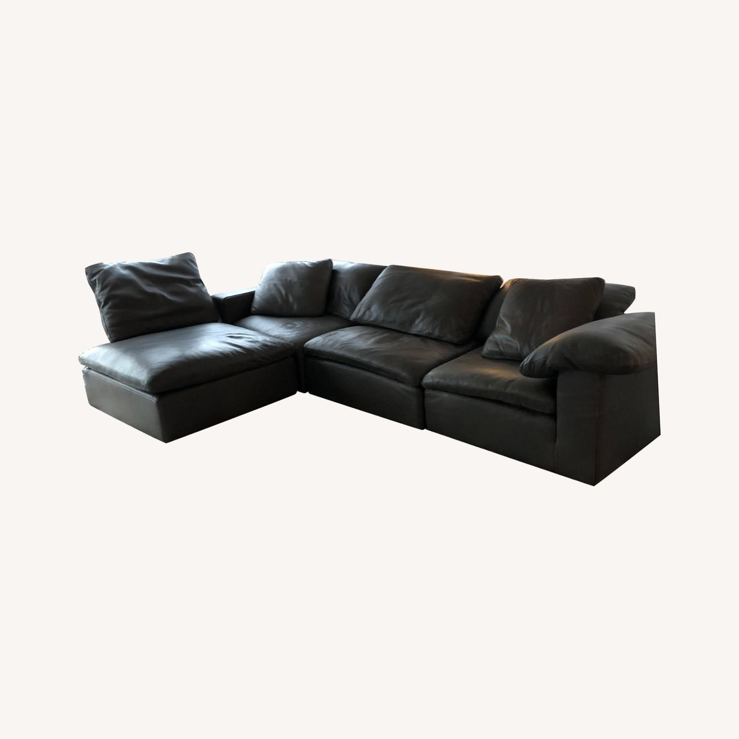 Restoration Hardware Leather Sectional Couch - image-0
