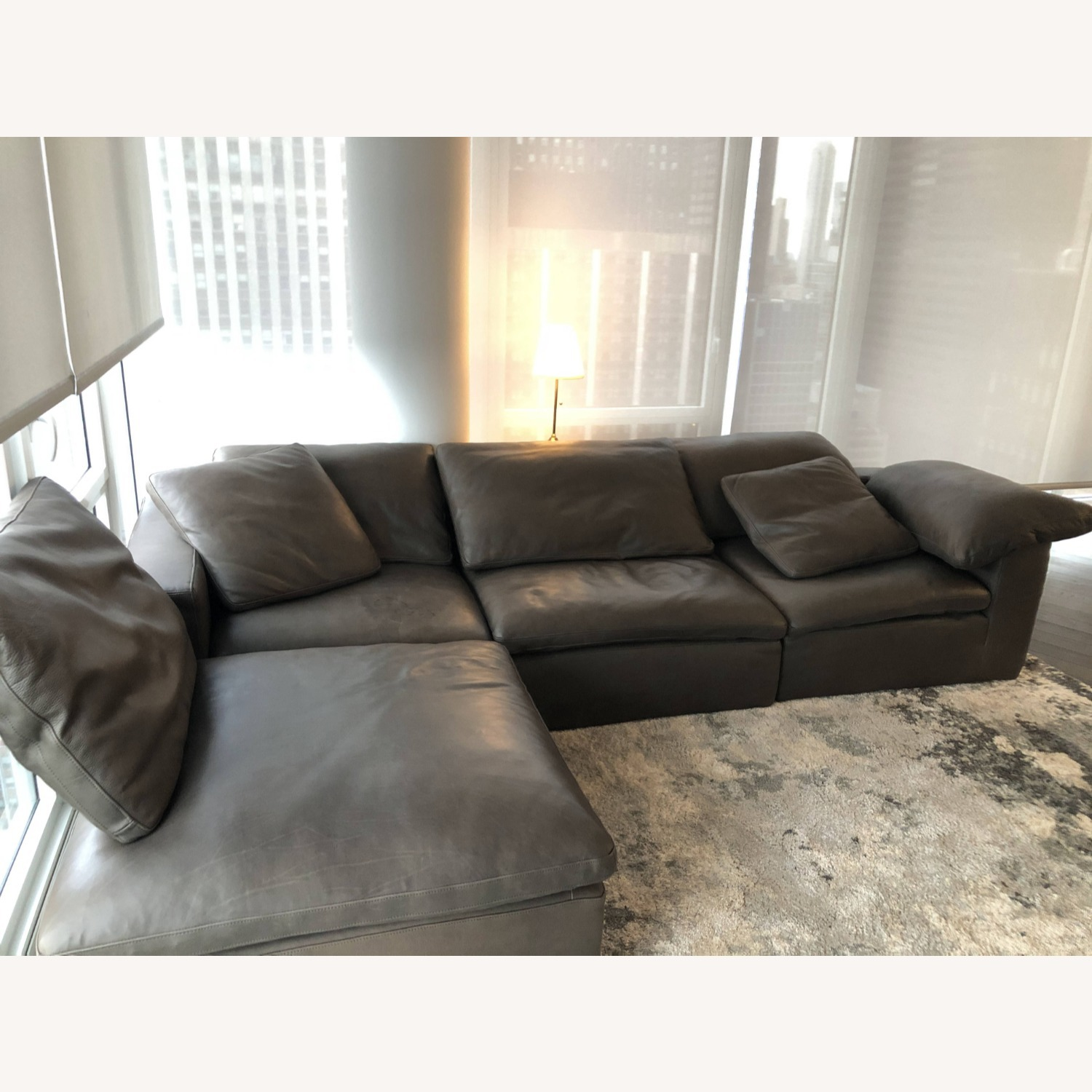 Restoration Hardware Leather Sectional Couch - image-1