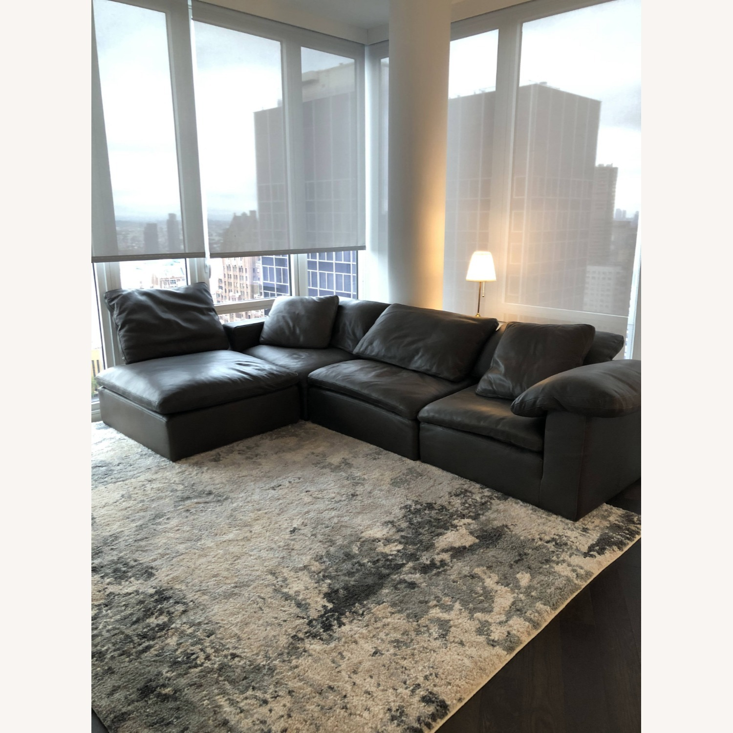 Restoration Hardware Leather Sectional Couch - image-2