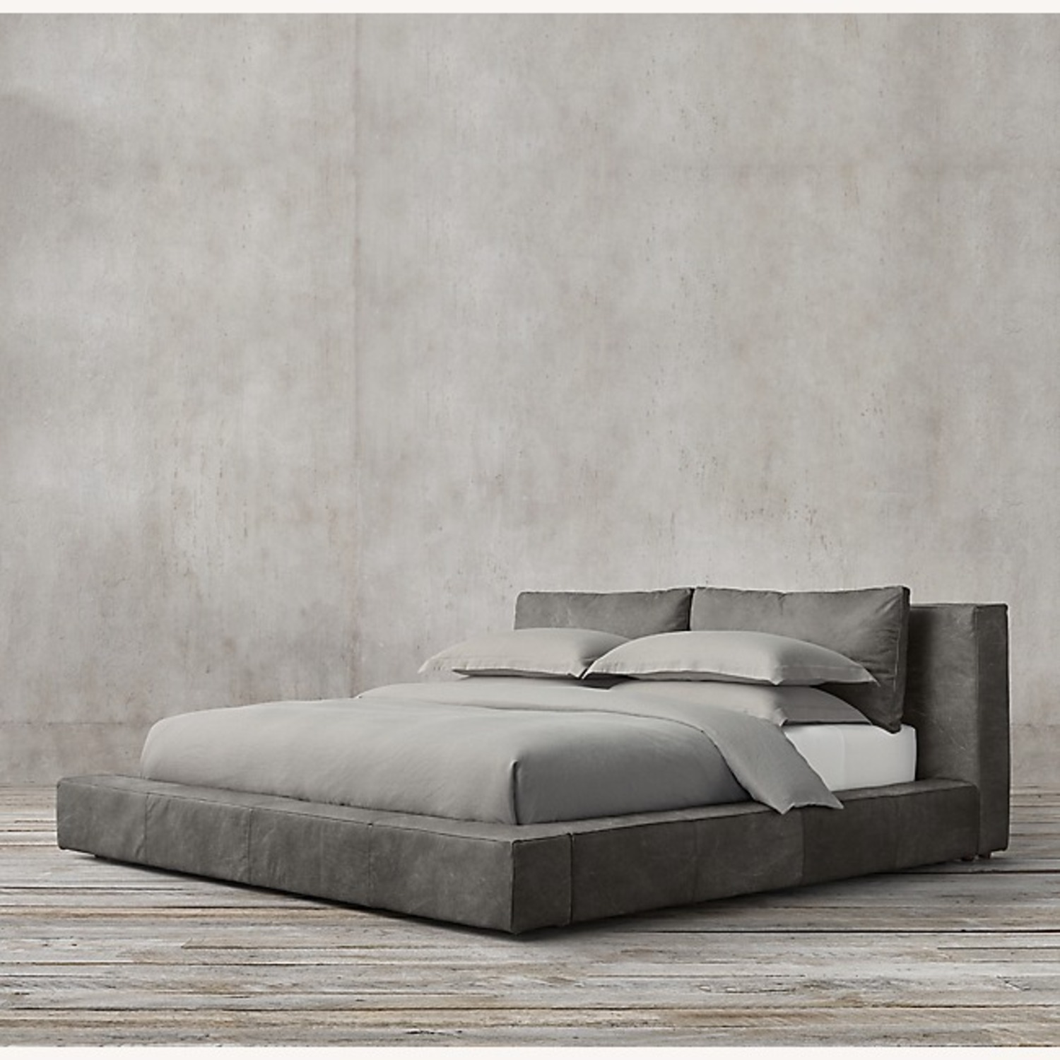 Restoration Hardware - Leather Platform Bed - image-0