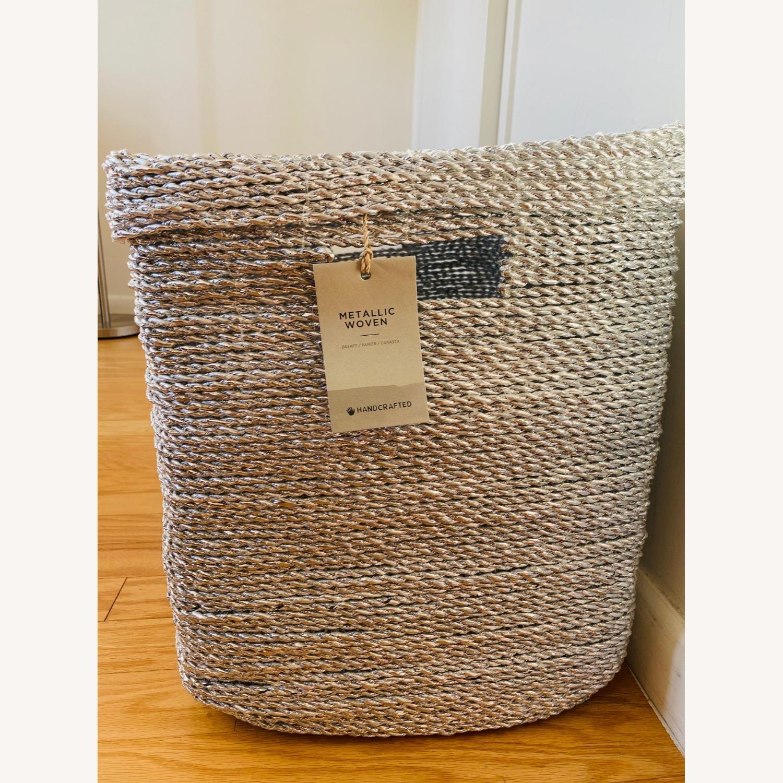 West Elm Metallic Woven Oversized Basket - image-4