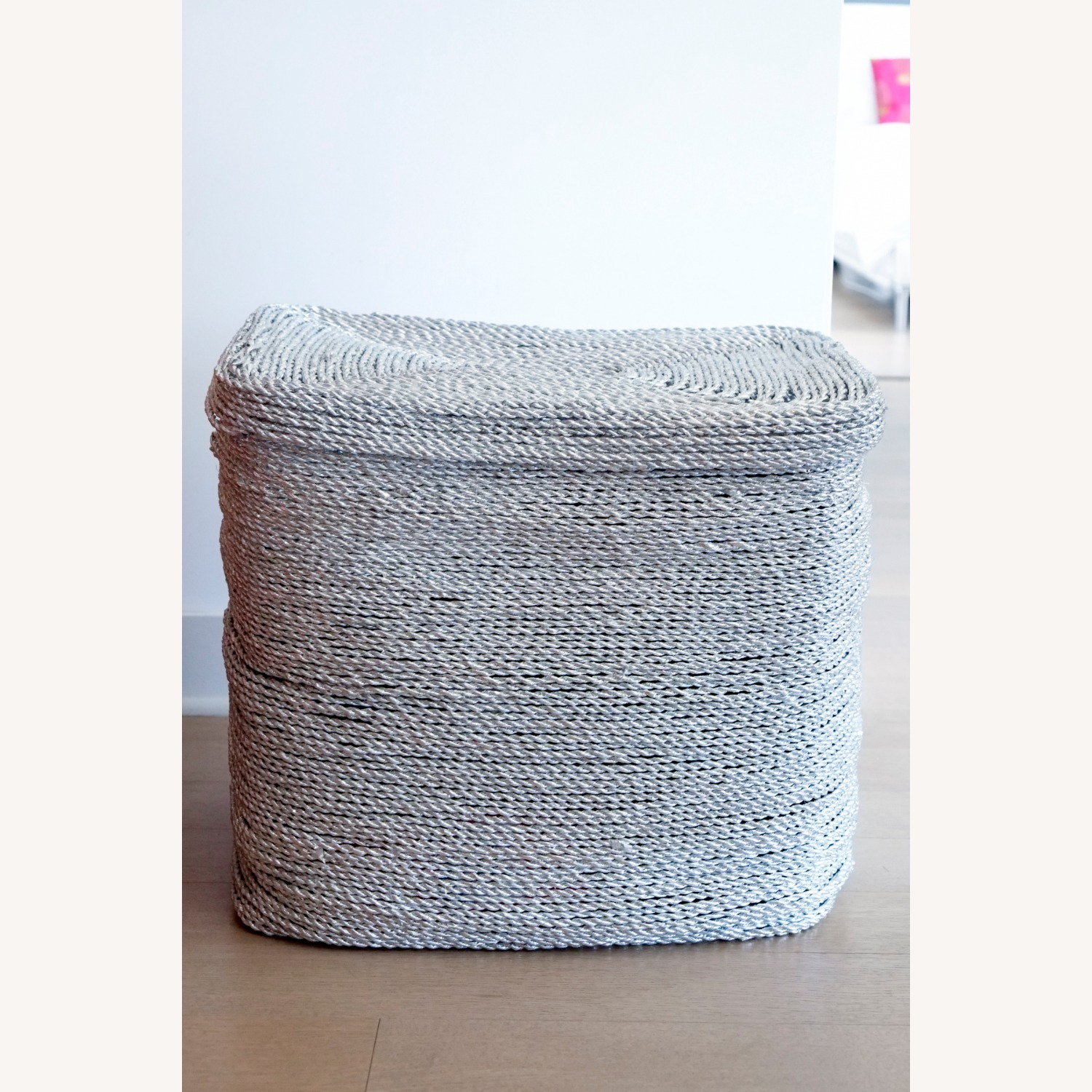 West Elm Metallic Silver Woven Hamper - image-2