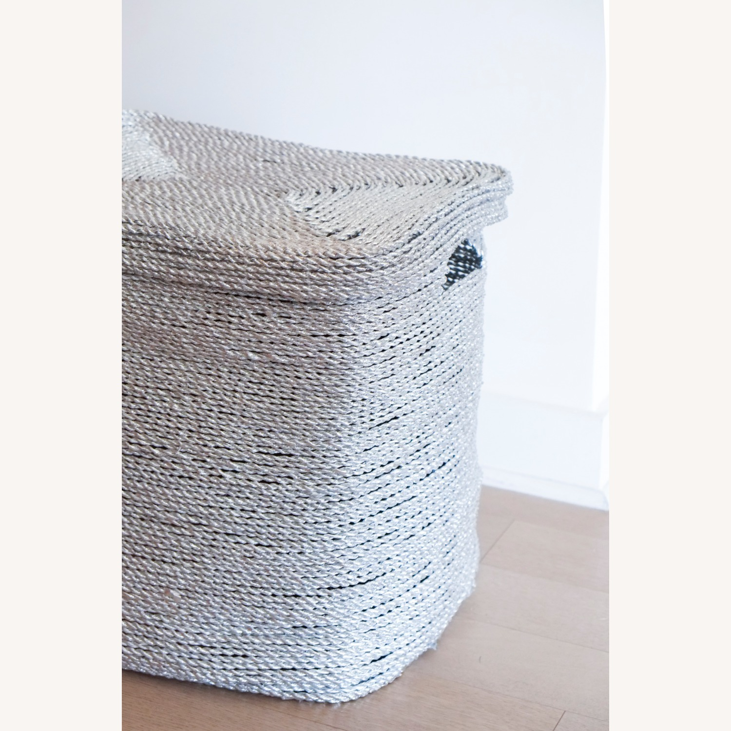 West Elm Metallic Silver Woven Hamper - image-3