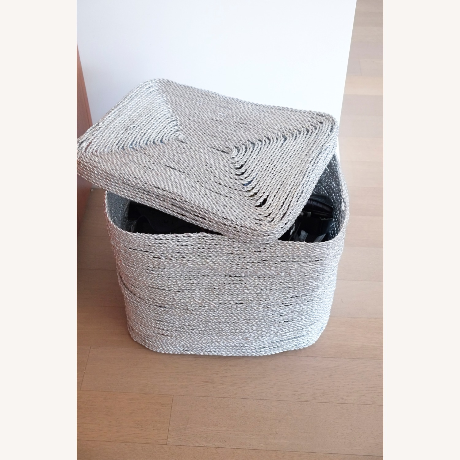 West Elm Metallic Silver Woven Hamper - image-1