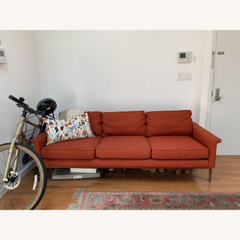 West Elm Brick Red Leon Sofa - image-1