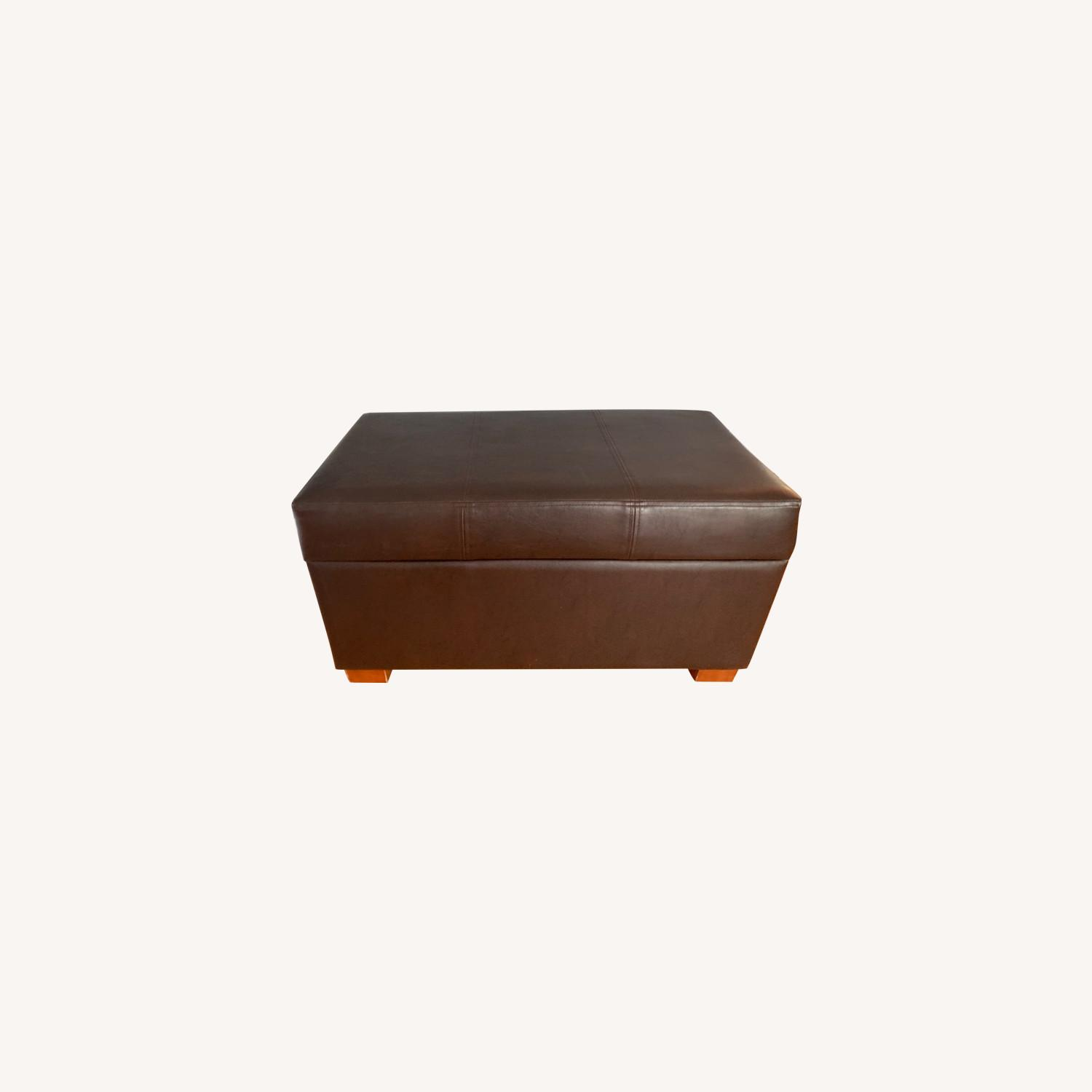 Target Faux Leather Ottoman - image-0