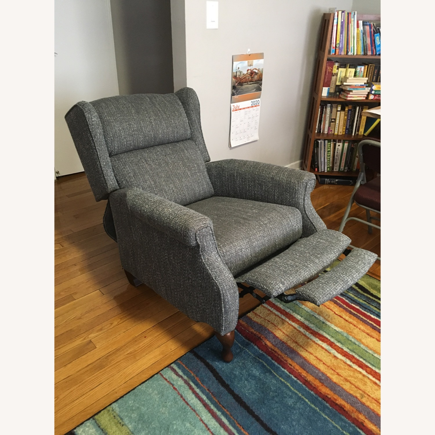 Macy's Blue Gray Pushback Recliner - image-1