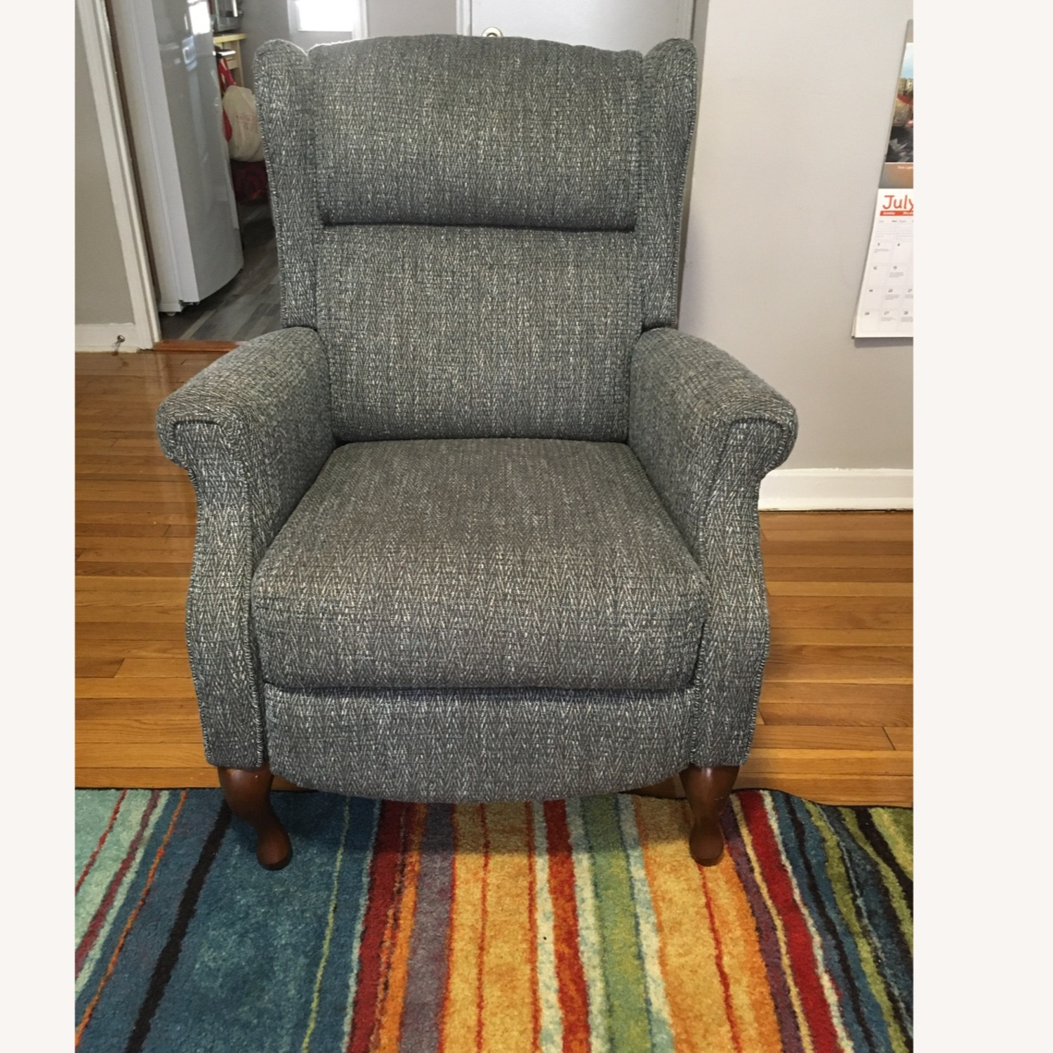 Macy's Blue Gray Pushback Recliner - image-0