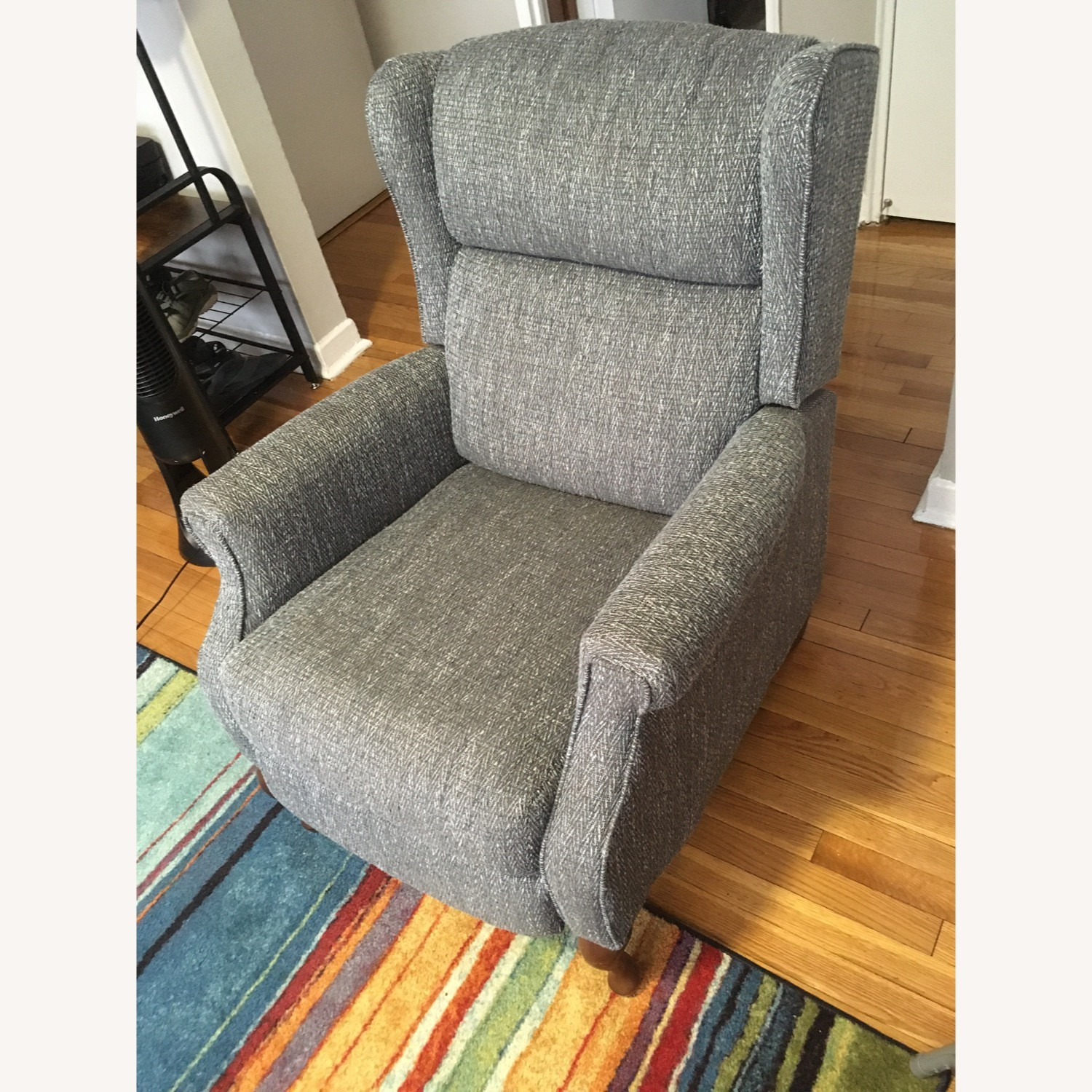 Macy's Blue Gray Pushback Recliner - image-2