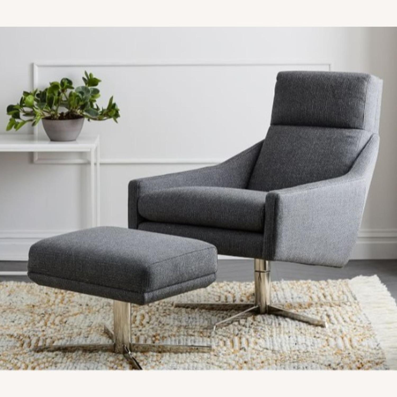 West Elm Austin Swivel Chair + Ottoman - image-4