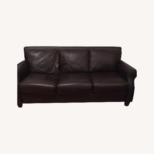 Used Raymour & Flanigan Dark Brown Leather Sofa for sale on AptDeco