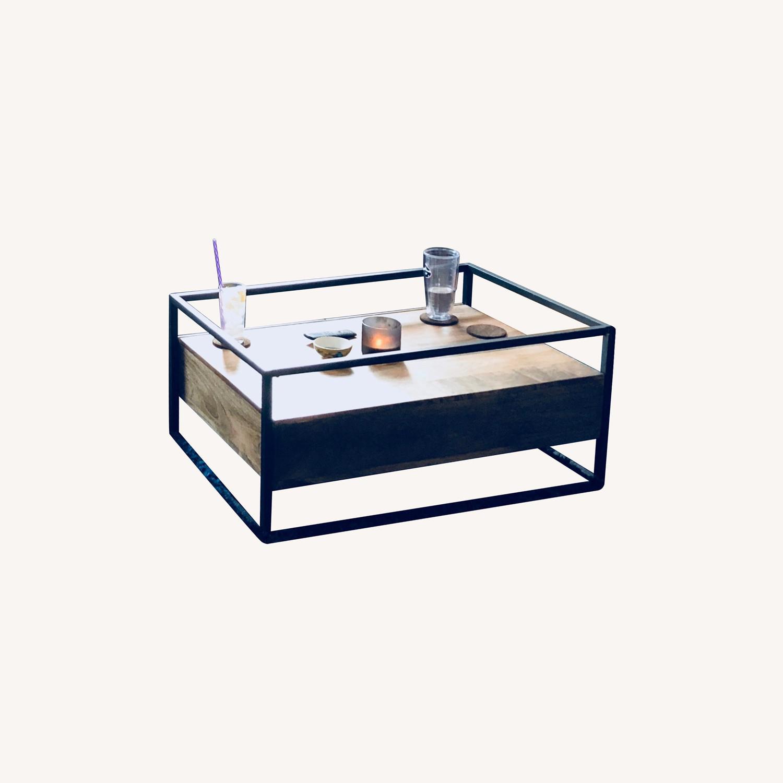 West Elm Box Frame Storage Coffee Table - image-0