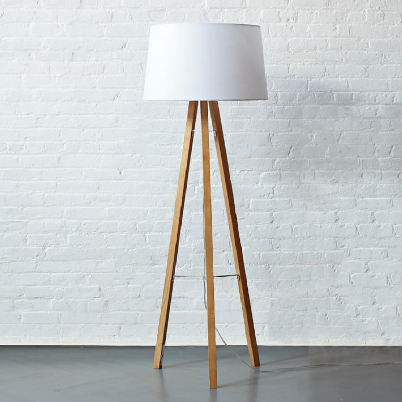 West Elm Tripod Wood Floor Lamp - image-4