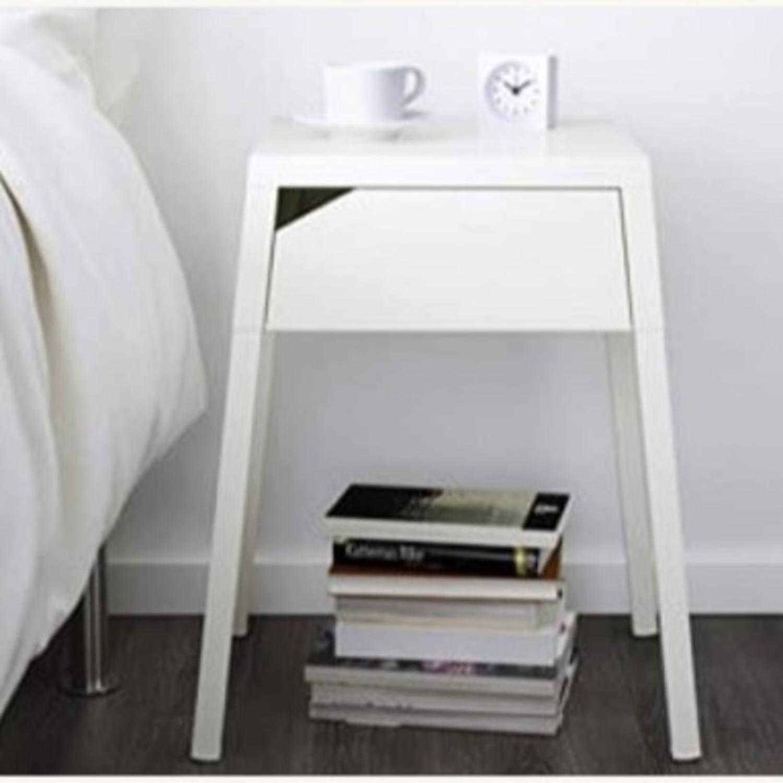 Ikea Selji White Metal Nightstand Aptdeco