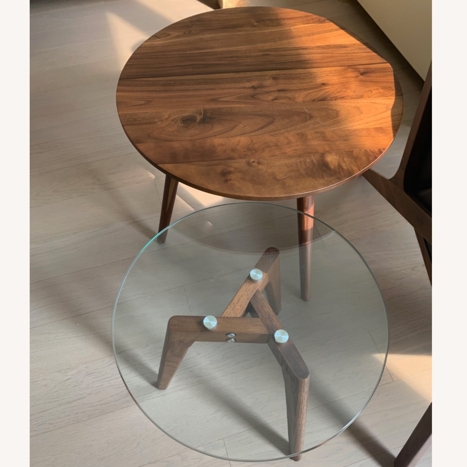 Article Walnut and Glass Side Tables - image-3