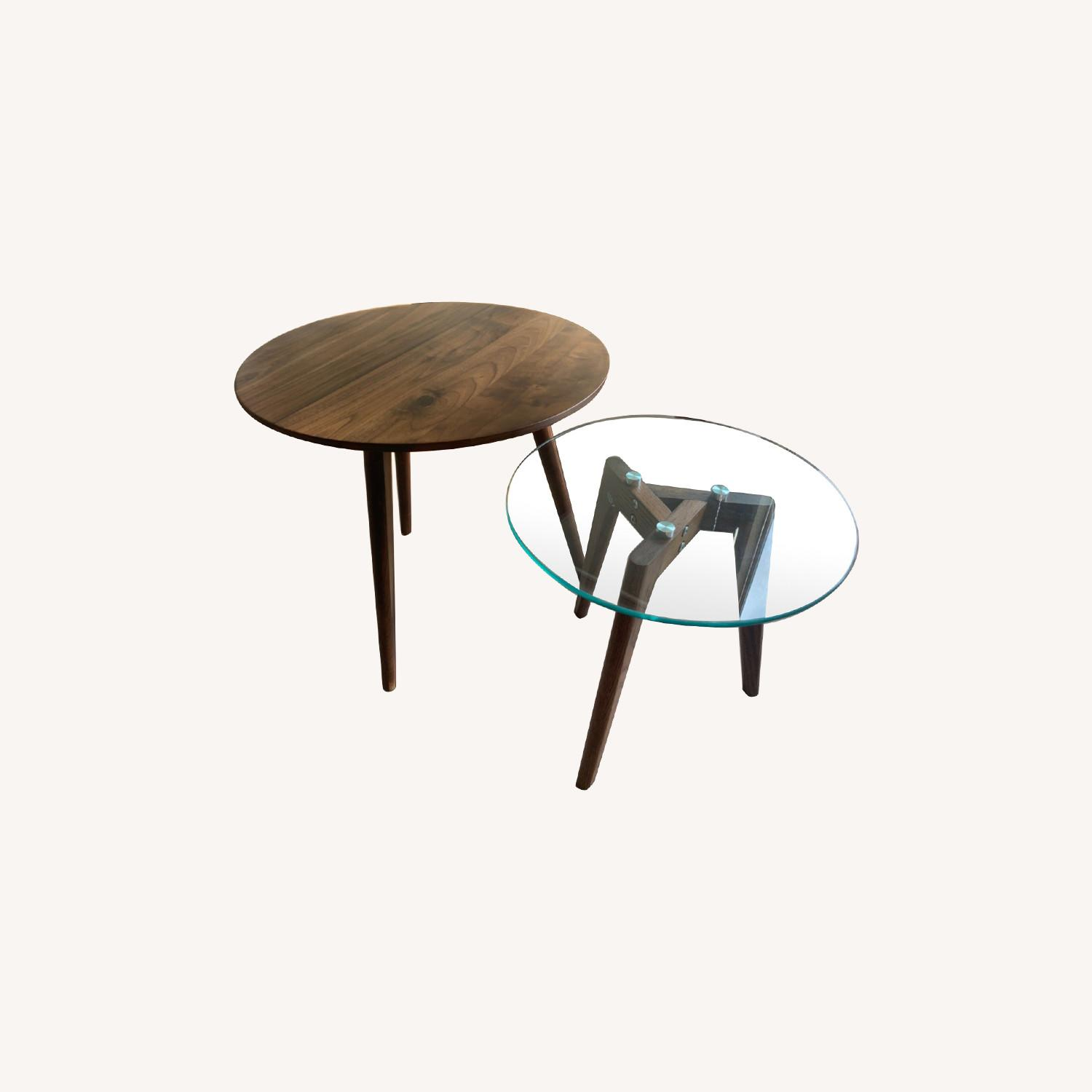 Article Walnut and Glass Side Tables - image-0