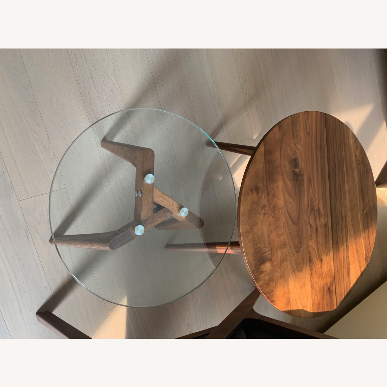 Article Walnut and Glass Side Tables - image-7