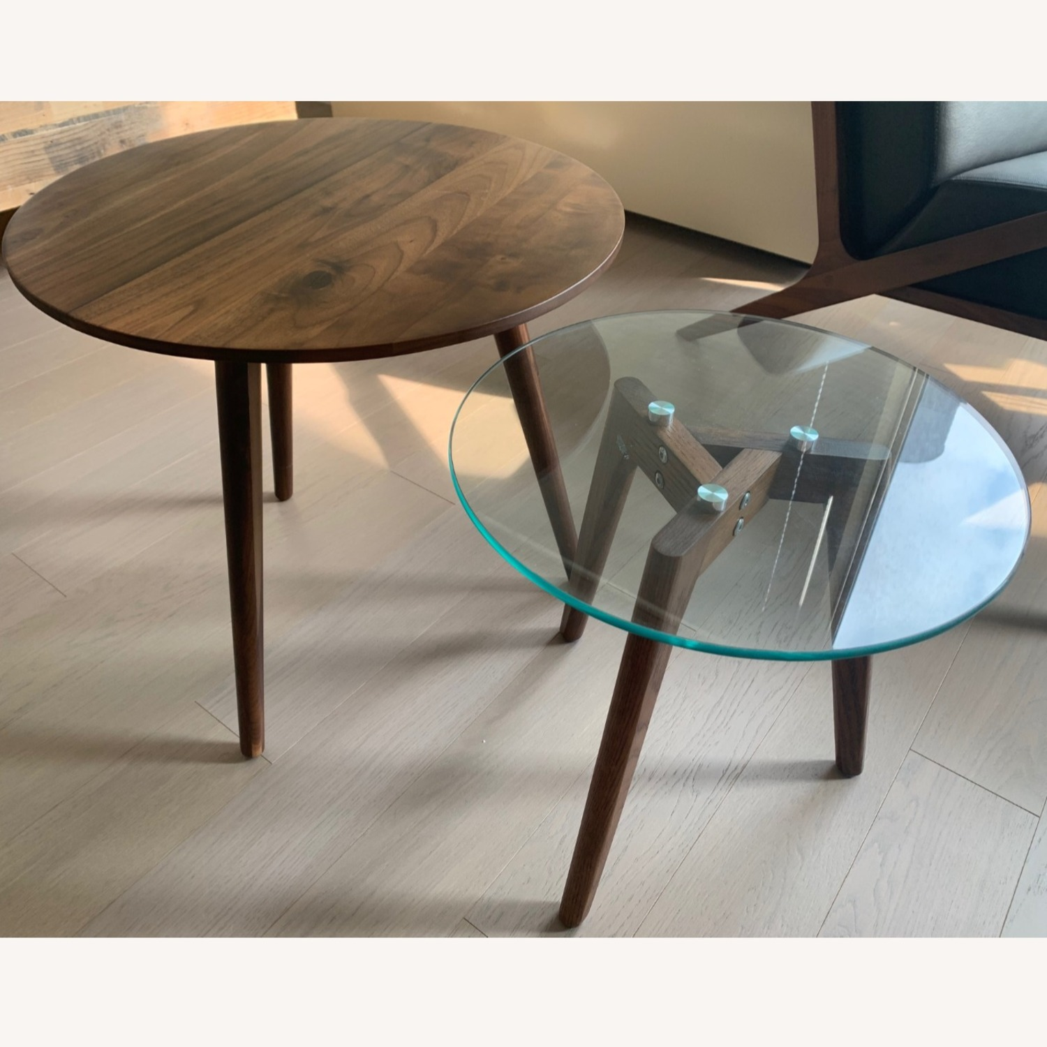 Article Walnut and Glass Side Tables - image-1