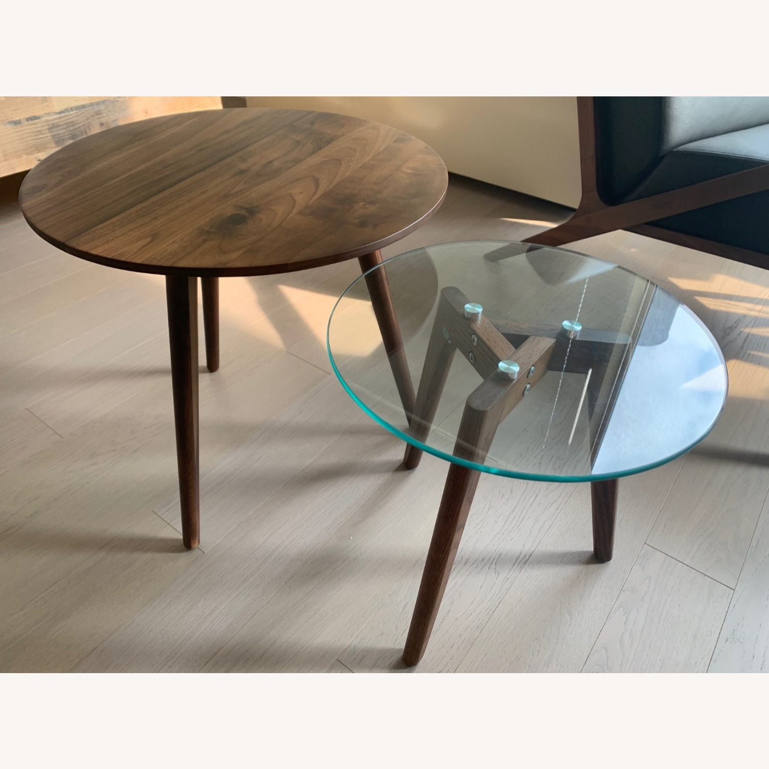 Article Walnut and Glass Side Tables - image-5