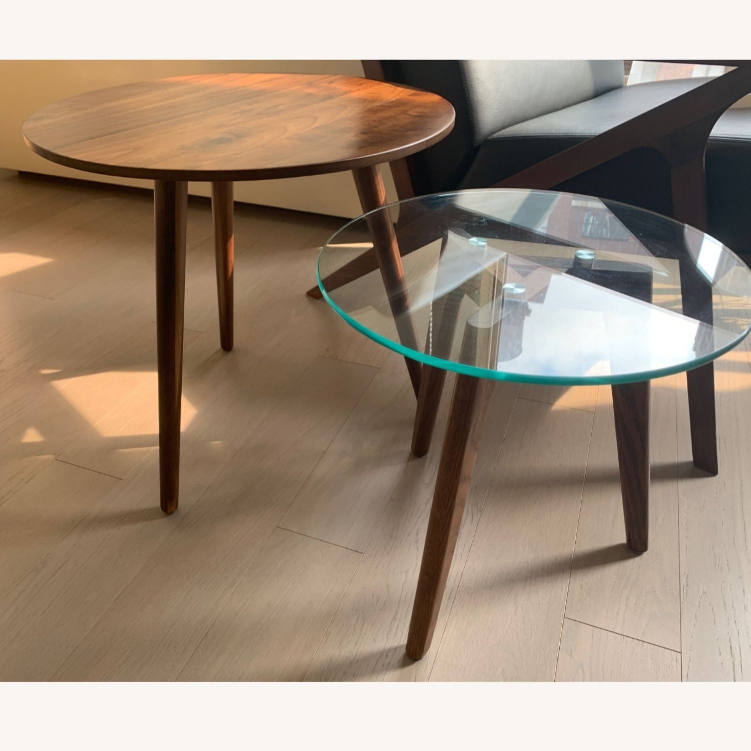 Article Walnut and Glass Side Tables - image-2