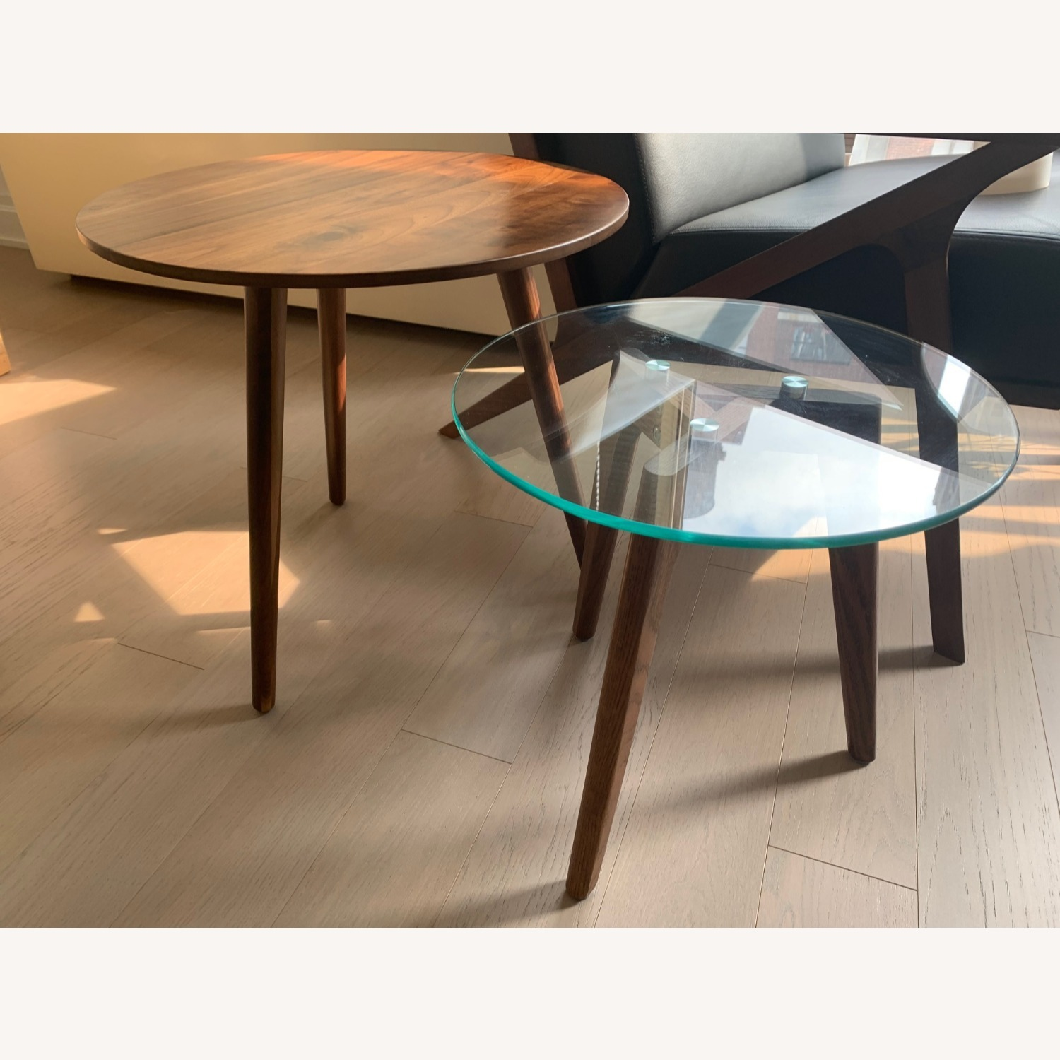 Article Walnut and Glass Side Tables - image-6