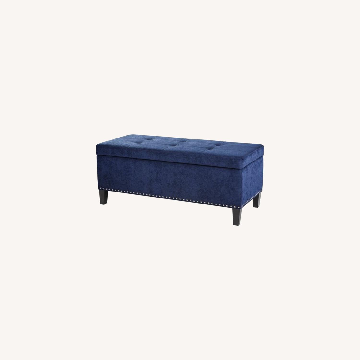 Joss Main Blue Velvet Storage Bench Aptdeco