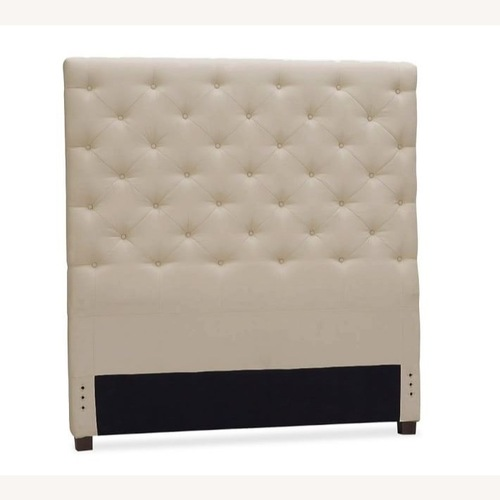 Used Pottery Barn Tufted Linen Upholstered Headboard for sale on AptDeco
