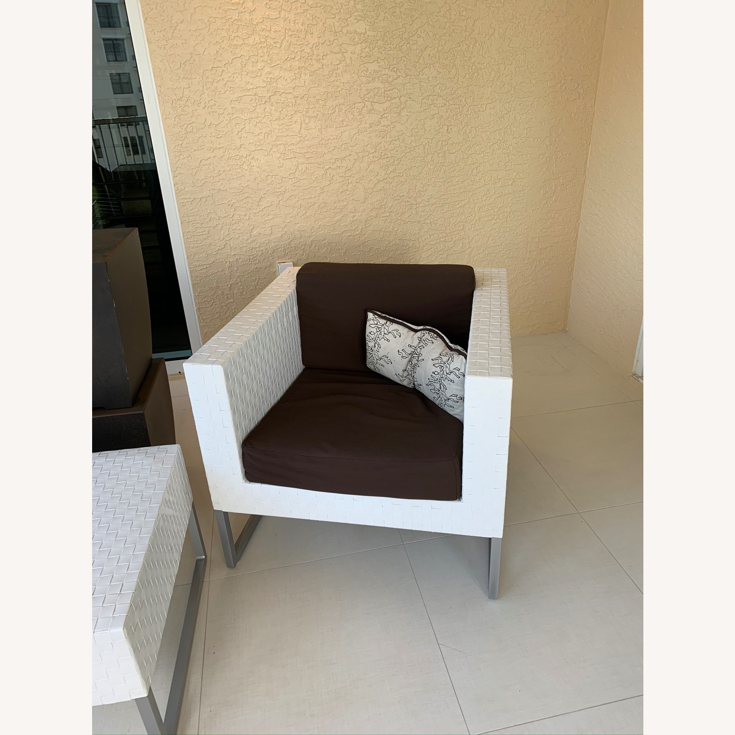 White Chaise and Matching Chairs and Ottoman - image-1