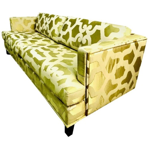 Used Kravet Couture French Chartreuse Silk 3 Seat Sofa for sale on AptDeco