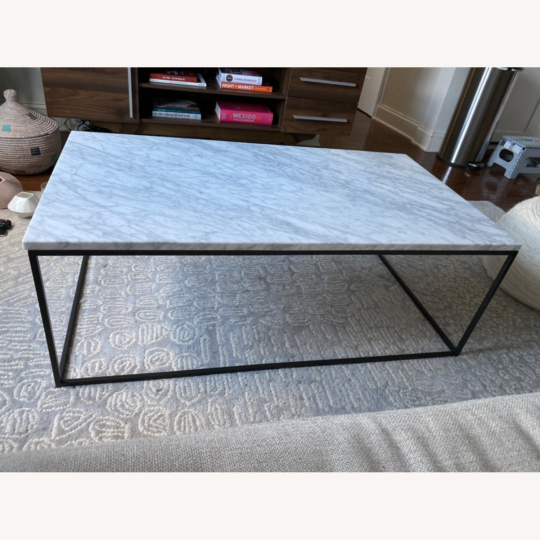 West Elm Streamline Marble Coffee Table Aptdeco