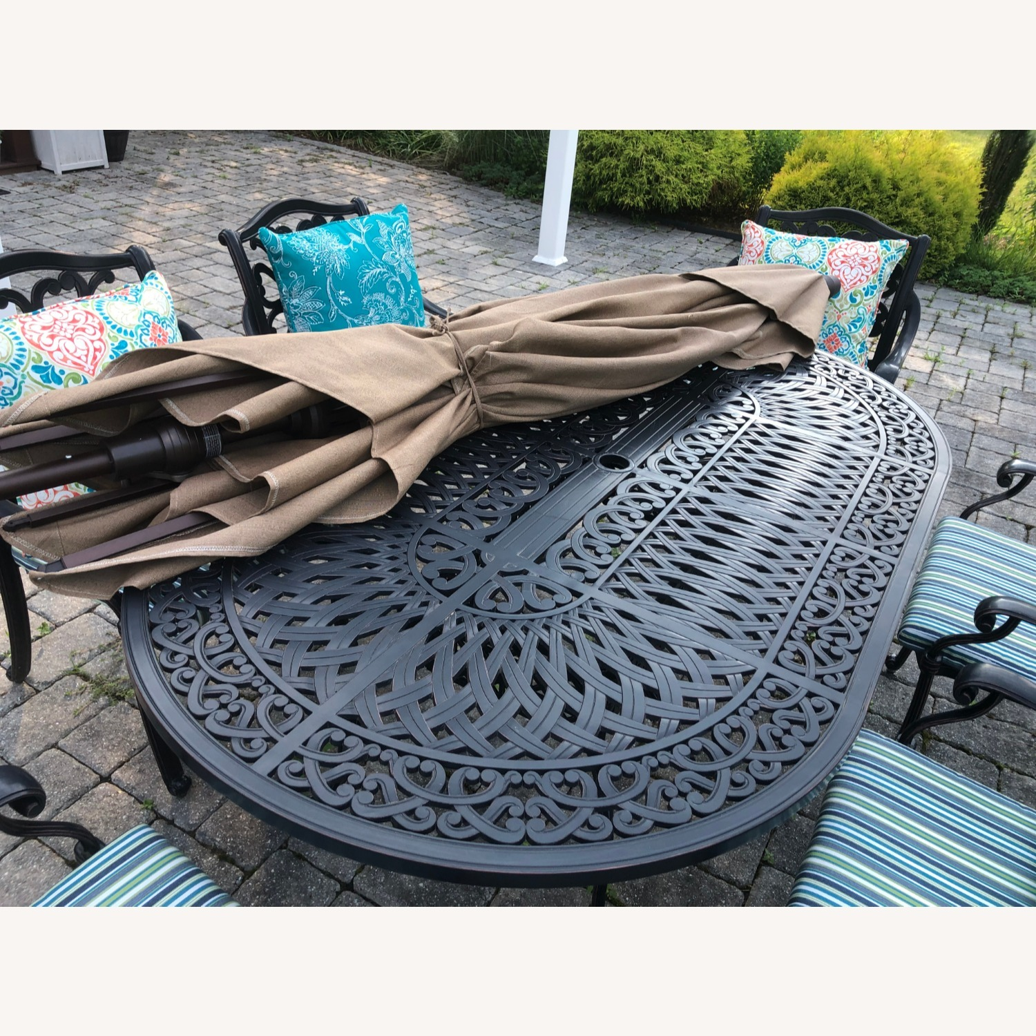Fortunoff Outdoor Dining Set with Umbrella - image-10