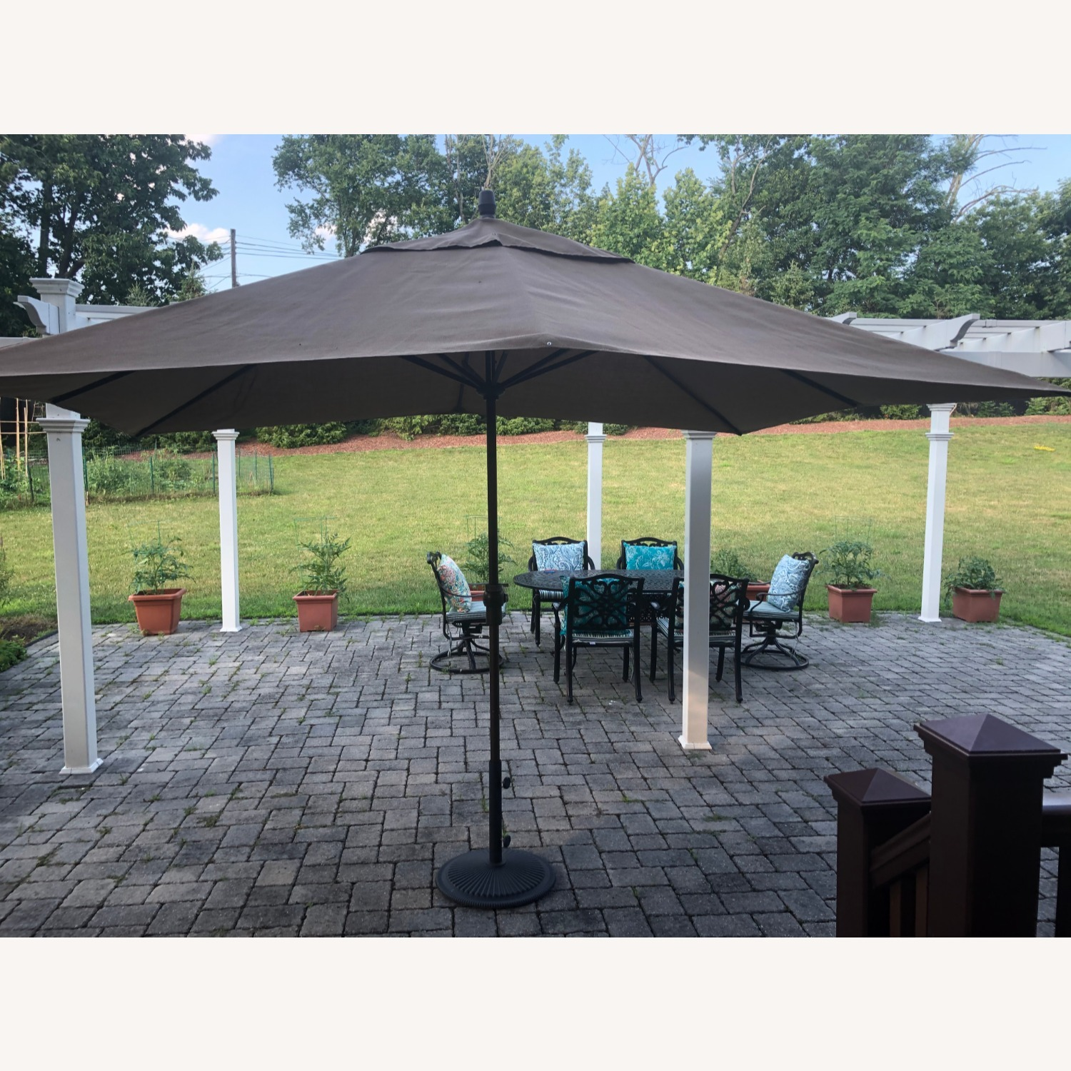 Fortunoff Outdoor Dining Set with Umbrella - image-11