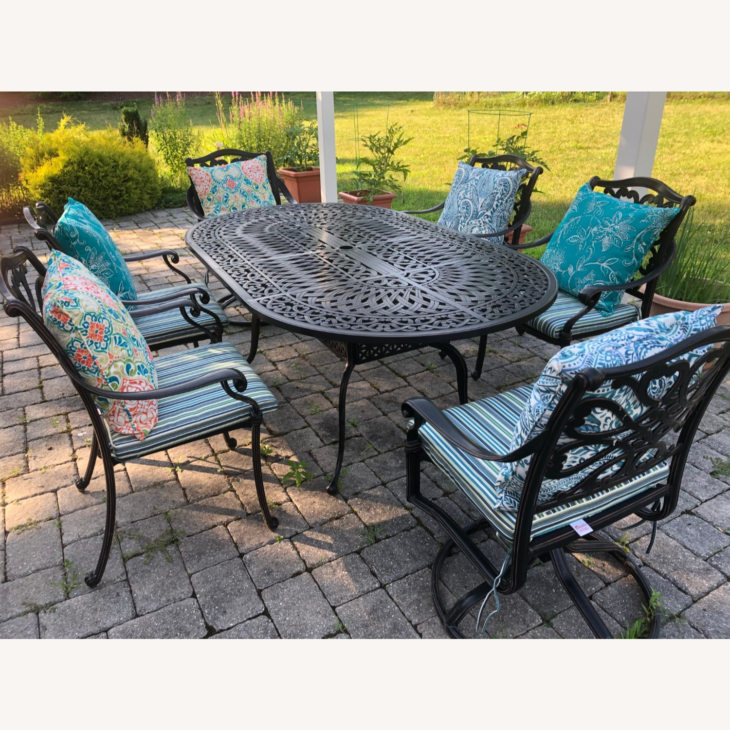 Fortunoff Outdoor Dining Set with Umbrella - image-0