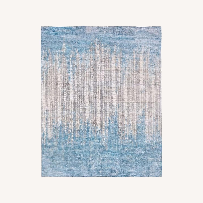 West Elm Echo Print Rug, Dusty Blue - image-0