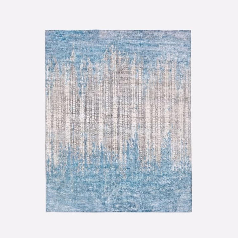 West Elm Echo Print Rug, Dusty Blue - image-1