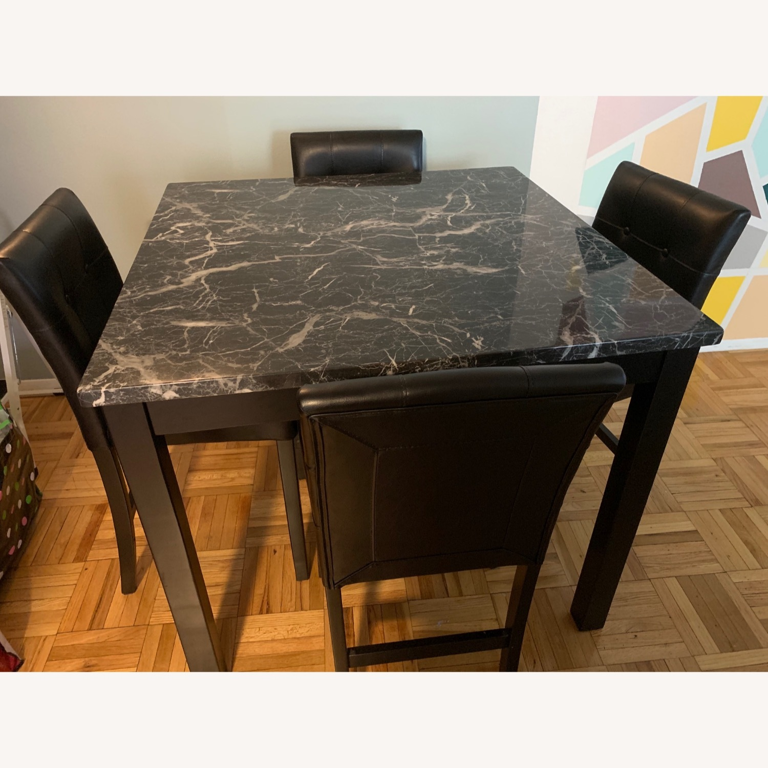 Walmart Harper & Bright Faux Marble Dining Set - image-2