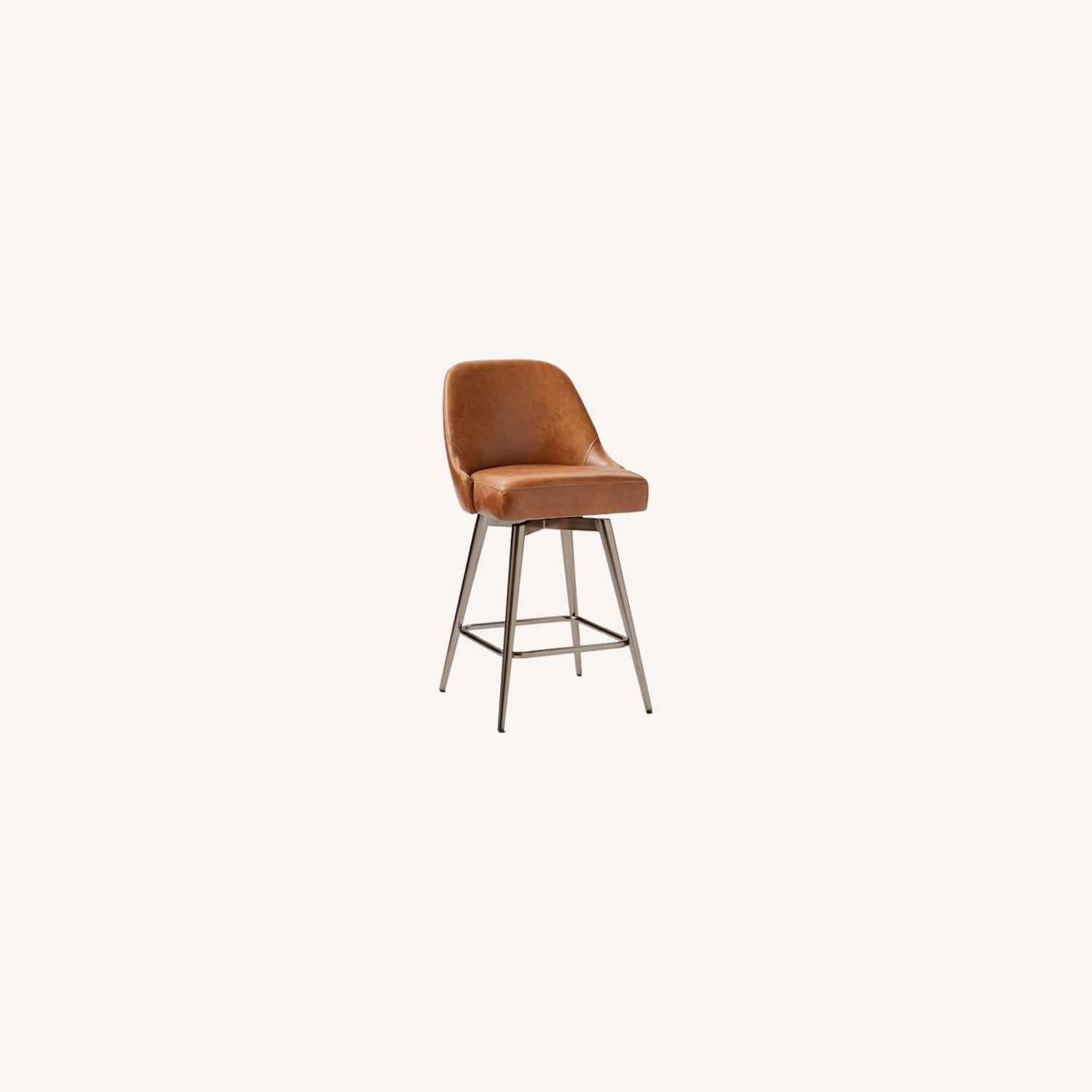 West Elm Mid-Century Leather Counter Stool - image-0