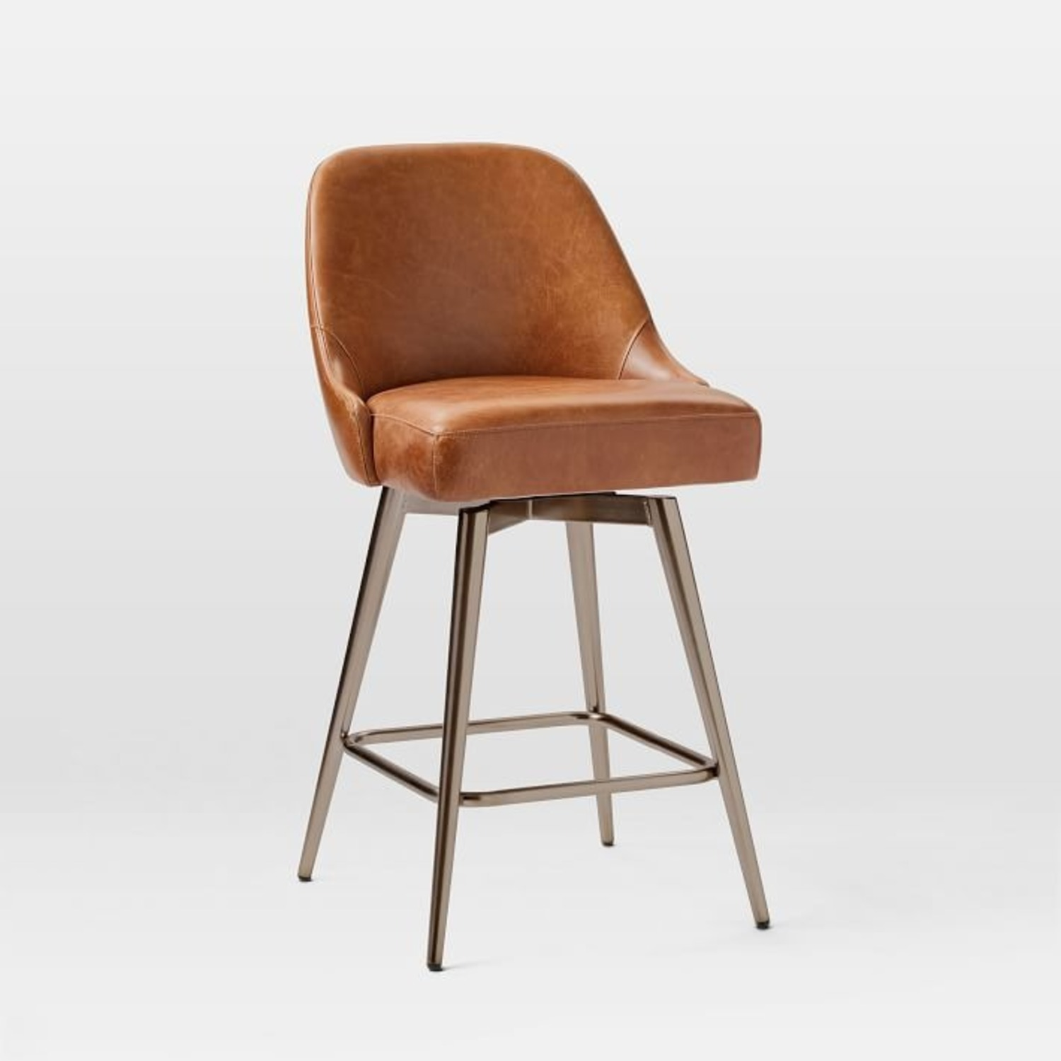 West Elm Mid-Century Leather Counter Stool - image-1